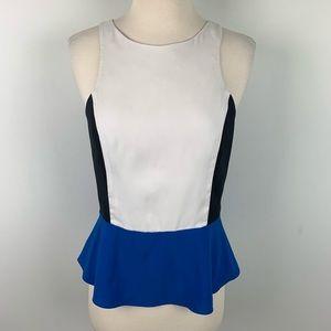 Express Womens Blue Black White Peplum Shirt Top S